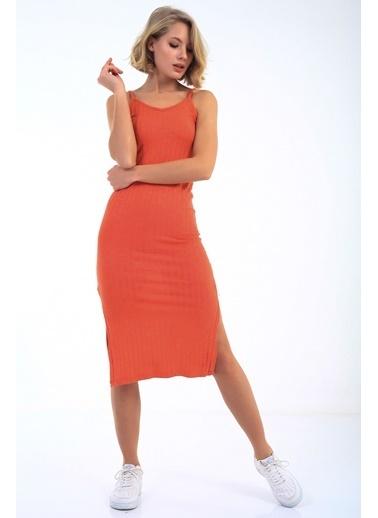 Emjey Askılı Yırtmaçlı Elbise Oranj